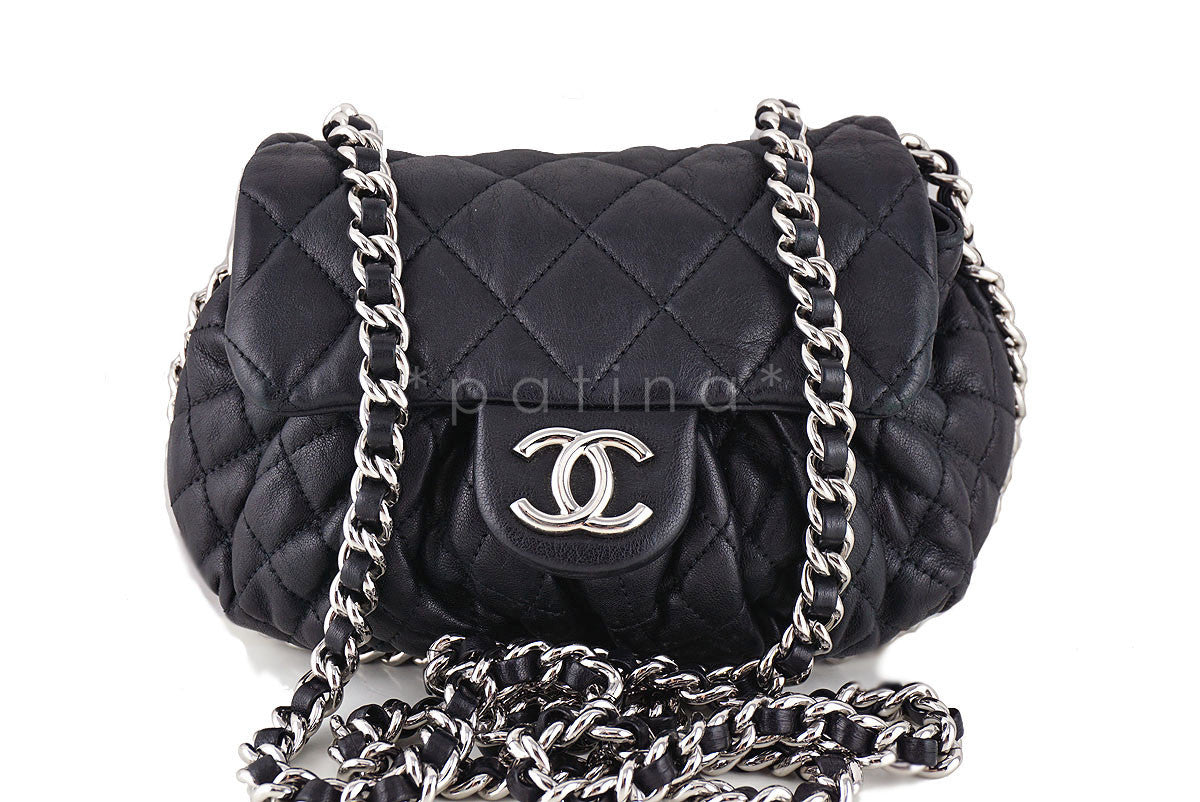 Chanel Black Small Chain Around Rounded Classic Cross Body Flap Bag