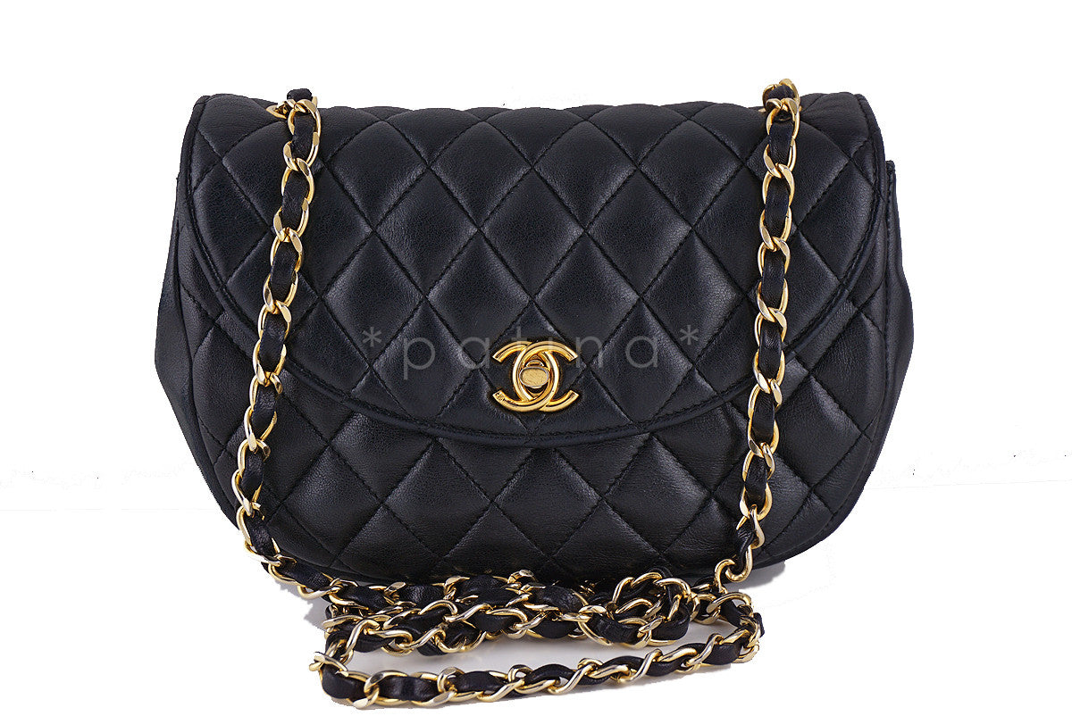 Chanel Vintage Black Rounded Classic Quilted Mini Flap Bag