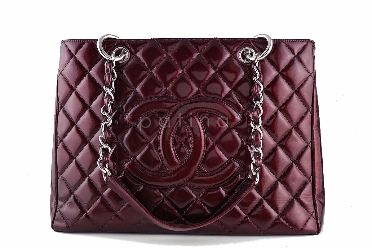 Chanel Wine Red Patent Classic Grand Shopper Tote GST Shopping Bag