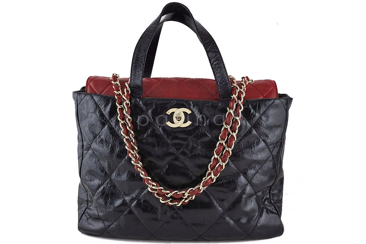 Chanel Black/Red Classic Portobello Executive Shopper Tote Bag