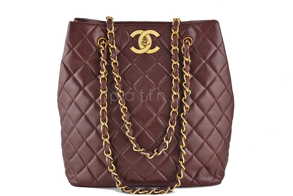 Chanel Chestnut Brown Vintage Jumbo CC Soft Classic Shopper Tote Bag