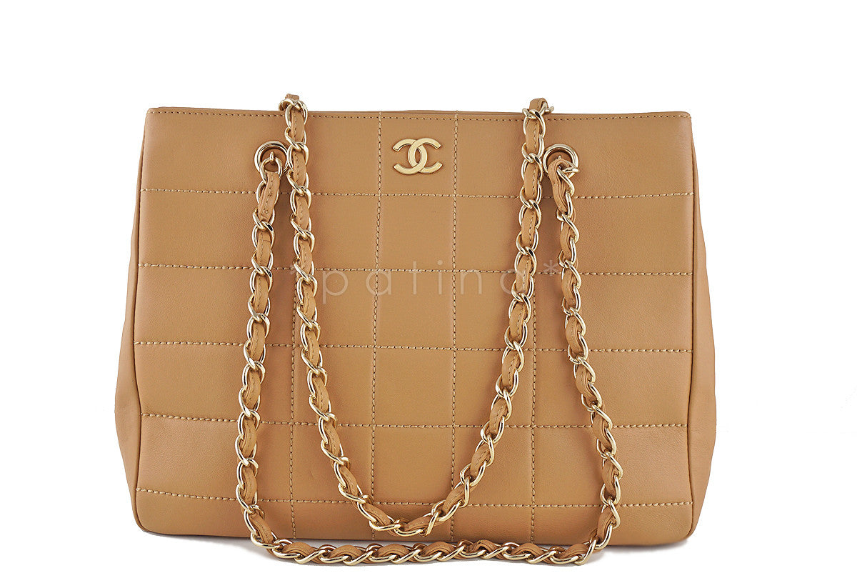 Chanel Beige Classic Chocolate Quilted Shopper Tote Bag