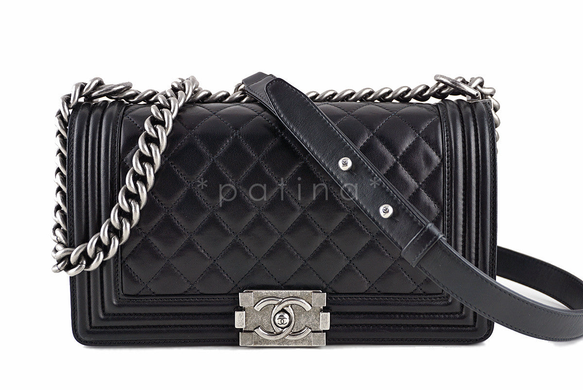 a11a61962642 Chanel Black Le Boy Classic Flap Ruthenium RHW, Medium ...