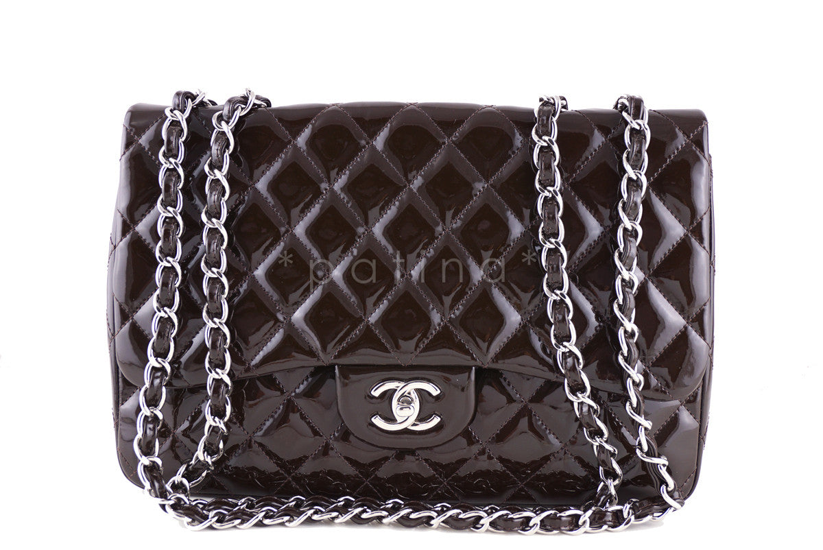 Chanel Chocolate Brown Patent Jumbo Classic Flap 2.55 Bag
