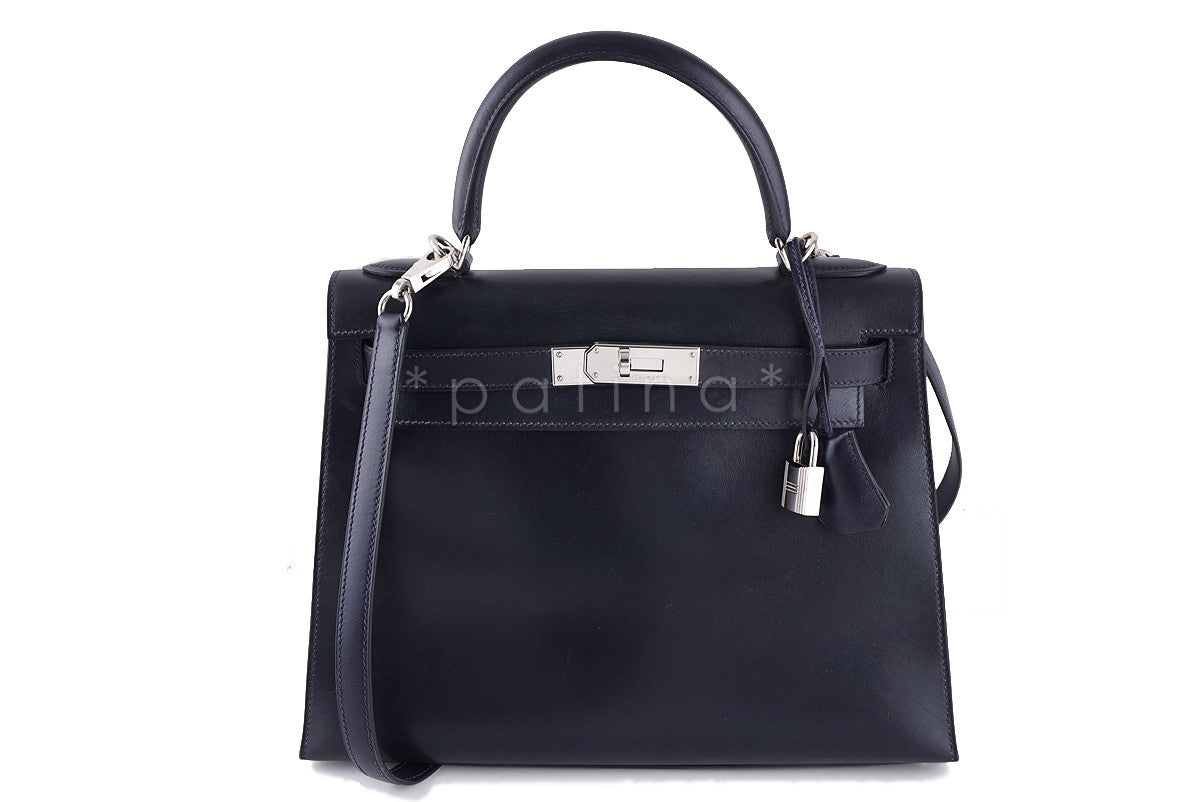 Hermes Indigo (Dark Navy) 28cm Box calf Kelly Sellier Bag - Boutique Patina  - 1