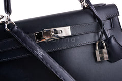 Hermes Indigo (Dark Navy) 28cm Box calf Kelly Sellier Bag - Boutique Patina  - 6