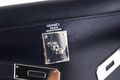 Hermes Indigo (Dark Navy) 28cm Box calf Kelly Sellier Bag - Boutique Patina  - 7