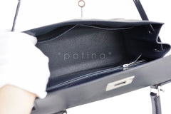 Hermes Indigo (Dark Navy) 28cm Box calf Kelly Sellier Bag - Boutique Patina  - 10