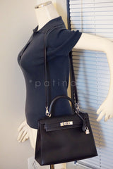 Hermes Indigo (Dark Navy) 28cm Box calf Kelly Sellier Bag - Boutique Patina  - 13