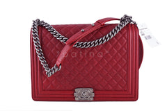 NWT Chanel Red Caviar Large Boy Classic Flap Ruthenium RHW Jumbo Bag - Boutique Patina  - 1