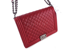 NWT Chanel Red Caviar Large Boy Classic Flap Ruthenium RHW Jumbo Bag - Boutique Patina  - 2