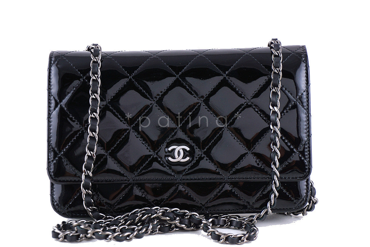 ef6beb29364e Chanel Black Patent Classic Quilted WOC Wallet on Chain Flap Bag