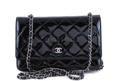 Chanel Black Patent Classic Quilted WOC Wallet on Chain Flap Bag - Boutique Patina  - 1
