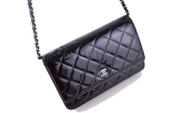 Chanel Black Patent Classic Quilted WOC Wallet on Chain Flap Bag - Boutique Patina  - 2