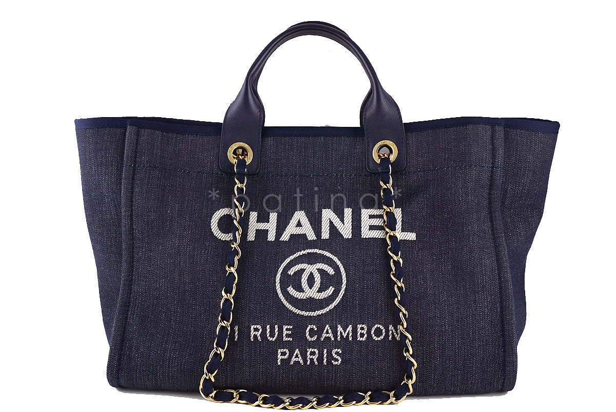 Chanel Dark Blue Deauville GM Denim Two-Way Beach Tote Bag