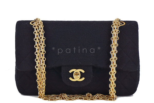 2bb17f2a755 Chanel Black Quilted Jersey Classic 2.55 Medium Double Flap Bag
