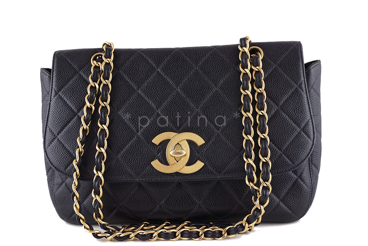 Chanel Black Rare Caviar Vintage Classic Flap with Oversized CCs Bag