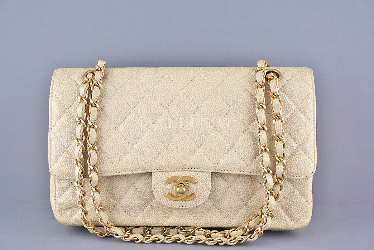 Chanel Light Beige Caviar Medium Classic 2.55 Double Flap Bag
