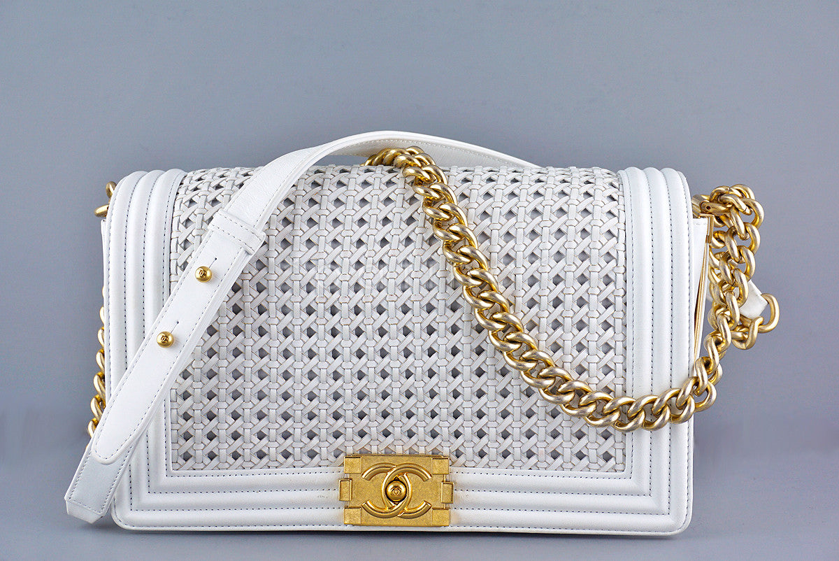 Chanel White Le Boy Gold-trimmed Rattan Flap Bag