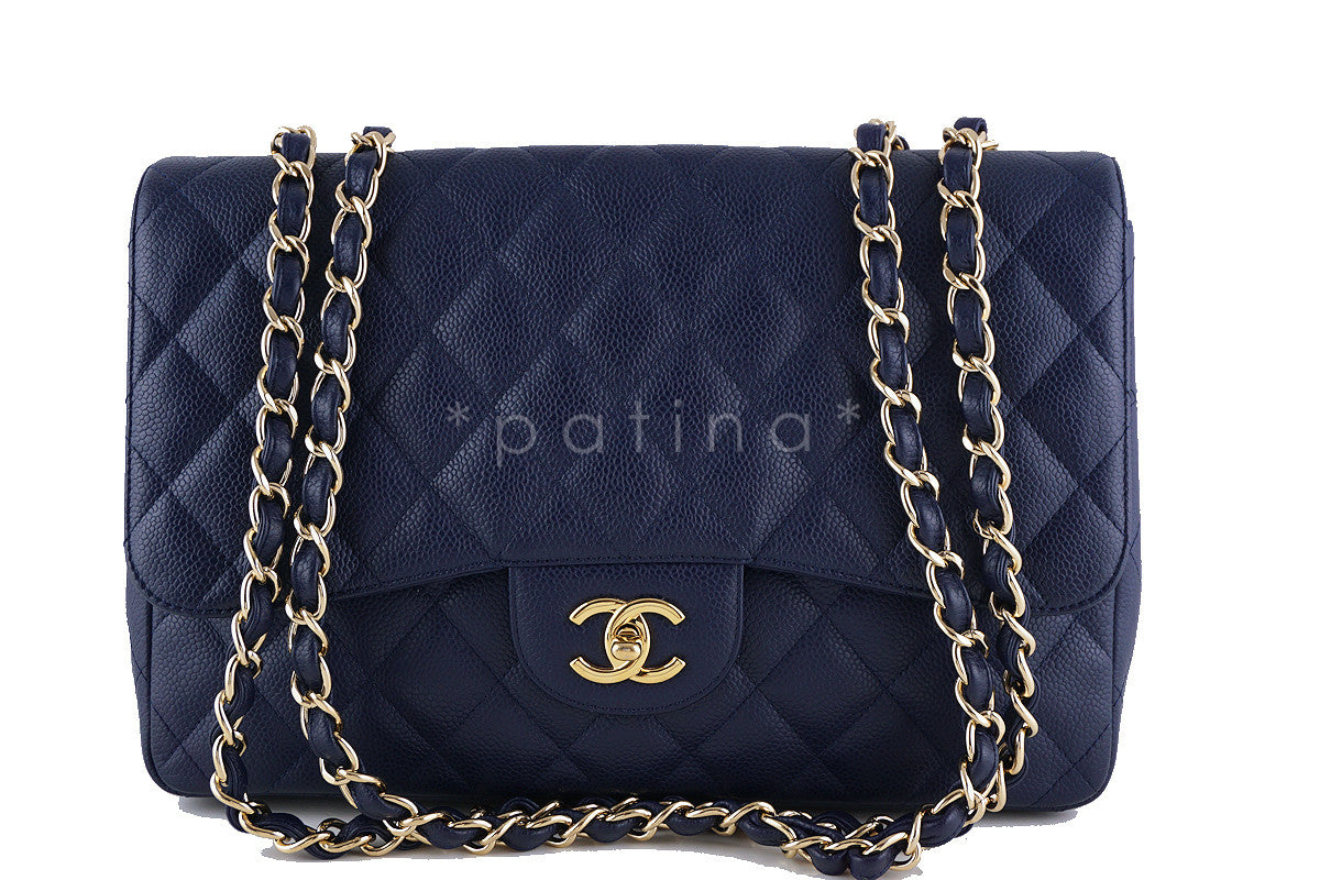 Chanel Navy Blue Caviar Jumbo 2.55 Classic Flap Bag