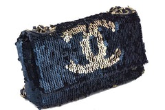 Chanel Navy Gold LIMITED Summer Nights Sequins Reversible Flap Bag - Boutique Patina  - 2