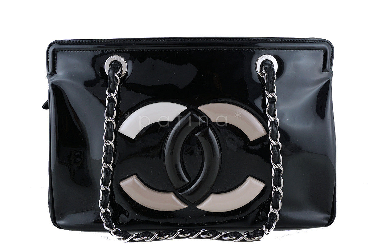Chanel Limited Black Patent Lipstick CC GST Grand Shopper Tote Bag