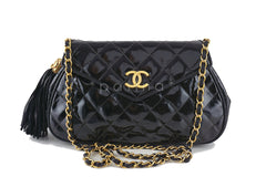 Chanel Black Vintage Patent Angled Classic Flap with Tassel Bag