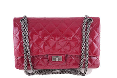 Chanel Raspberry Dark Pink Patent 226 Reissue Classic 2.55 Double Flap Bag - Boutique Patina  - 1