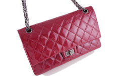 Chanel Raspberry Dark Pink Patent 226 Reissue Classic 2.55 Double Flap Bag - Boutique Patina  - 2
