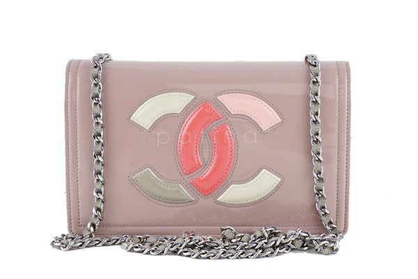 Chanel Patent Lavender Taupe Lipstick Logo Wallet on Chain WOC Bag