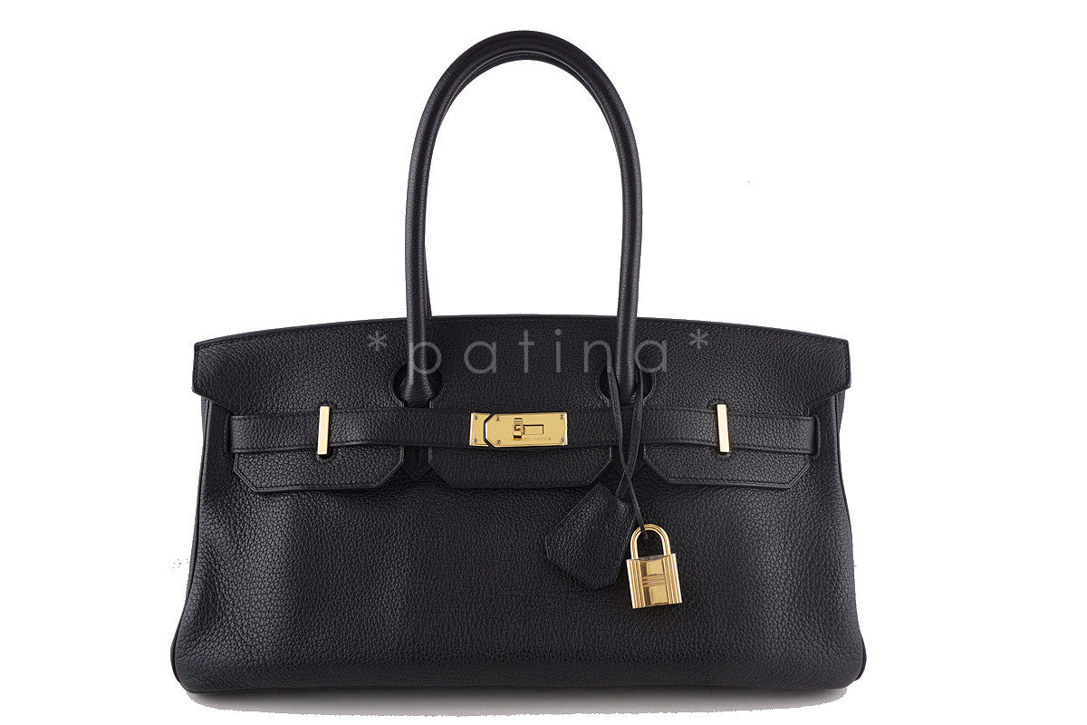Hermes Black 42cm Clemence Shoulder Birkin II JPG Bag, Pristine - Boutique Patina  - 1