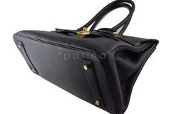Hermes Black 42cm Clemence Shoulder Birkin II JPG Bag, Pristine - Boutique Patina  - 5