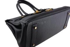 Hermes Black 42cm Clemence Shoulder Birkin II JPG Bag, Pristine - Boutique Patina  - 6