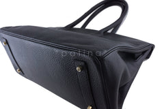 Hermes Black 42cm Clemence Shoulder Birkin II JPG Bag, Pristine - Boutique Patina  - 7