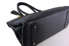 Hermes Black 42cm Clemence Shoulder Birkin II JPG Bag, Pristine - Boutique Patina  - 8