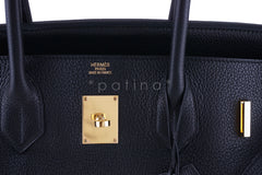 Hermes Black 42cm Clemence Shoulder Birkin II JPG Bag, Pristine - Boutique Patina  - 11