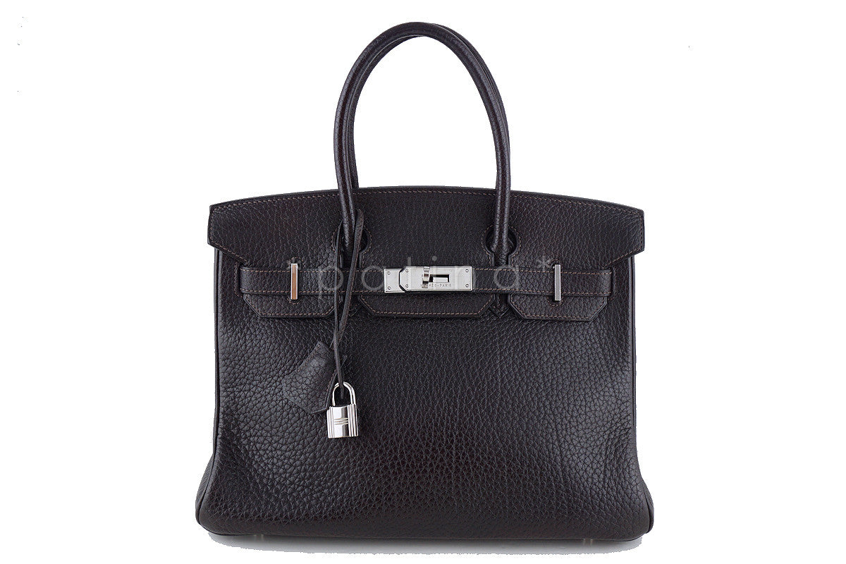Hermes 30cm Birkin Bag in Ebene Dark Brown Fjord, PHW
