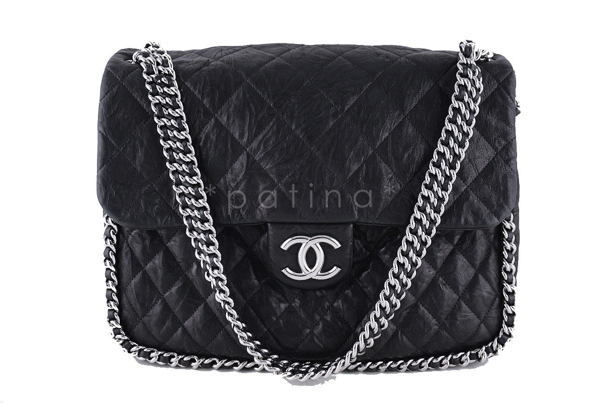 Chanel Black Classic Chain Around Maxi Luxe Flap Bag
