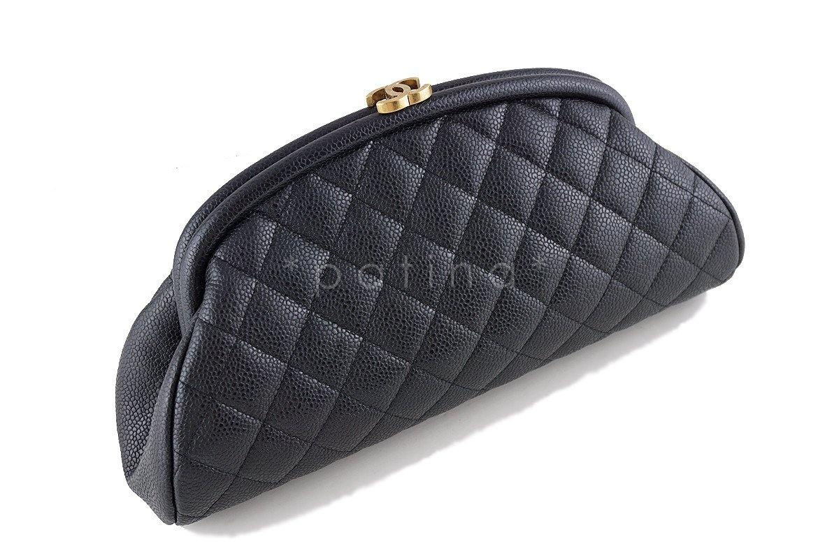 15C Chanel Black Caviar Quilted Timeless Kisslock Clutch Bag