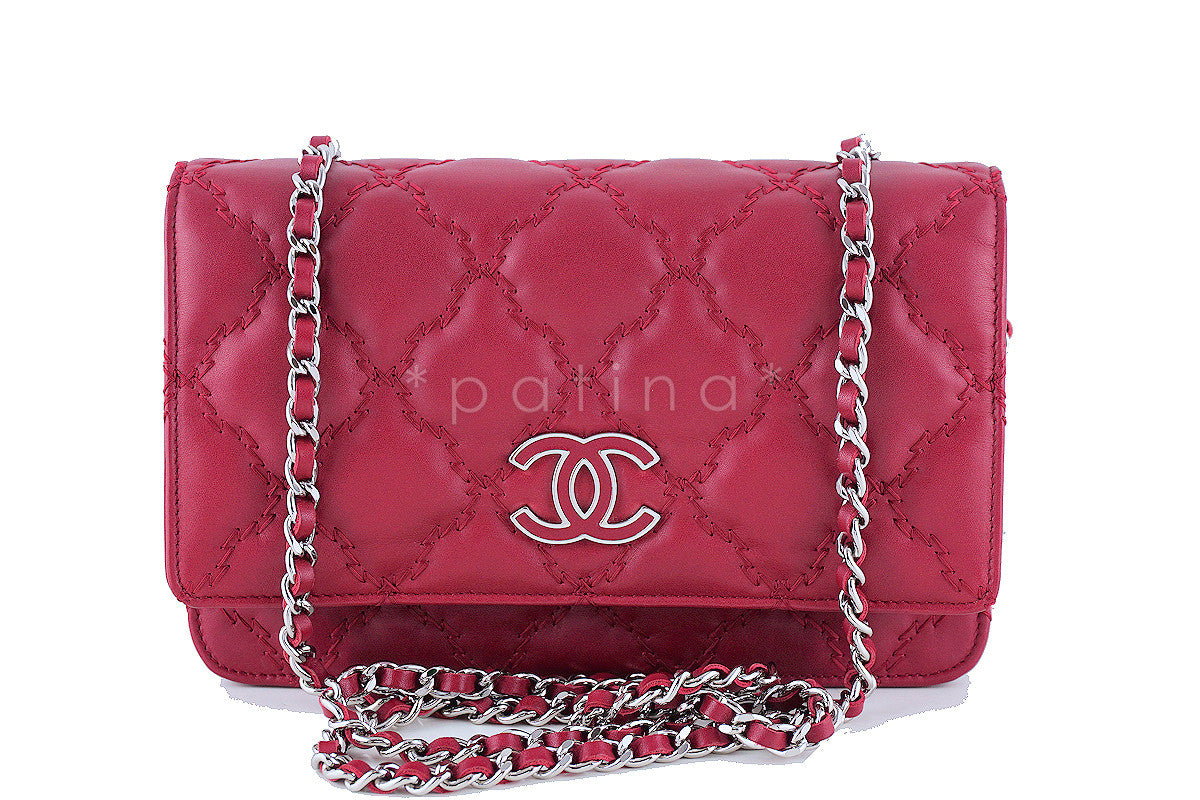 Chanel Red Sensual Quilt Stitched Classic WOC Wallet on Chain Bag