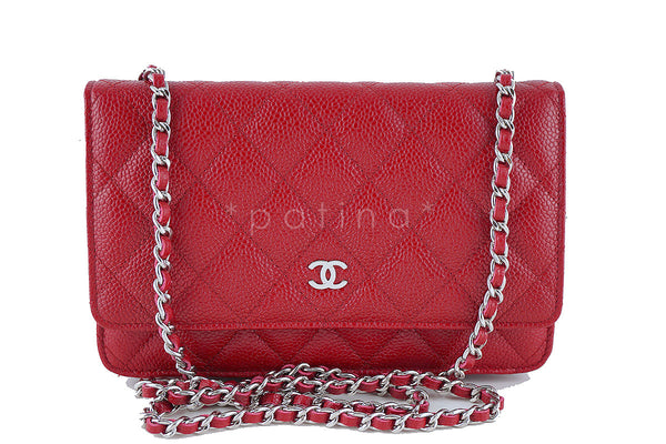 NWT Rare Chanel Caviar Red Classic WOC Quilted Wallet on Chain Flap Bag 2015 00V
