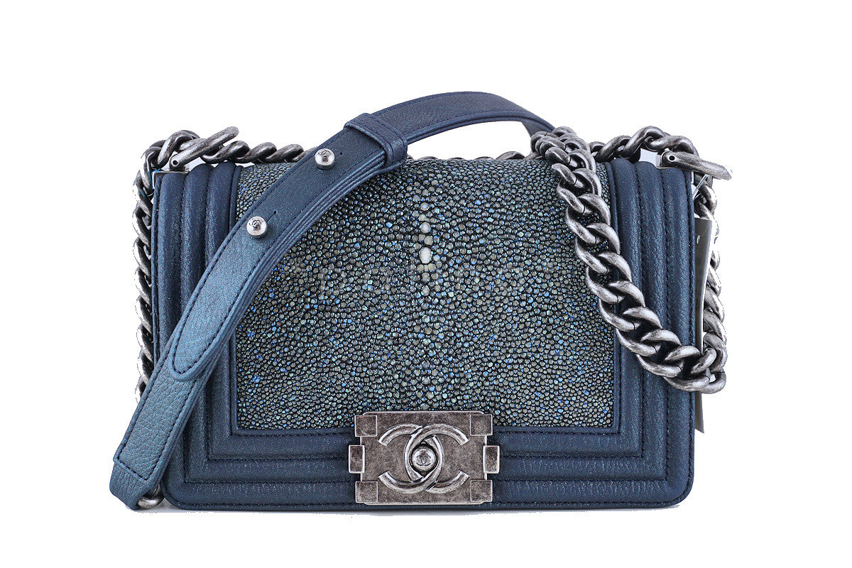 NWT 15P Rare Chanel Pearly Blue Stingray Le Boy Classic Flap Bag