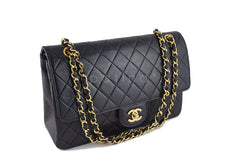 Chanel Black Classic Flap, Lambskin Medium-Large 2.55 Quilted Vintage Bag - Boutique Patina  - 2