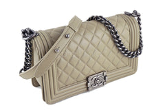 Chanel Boy Flap Bag, Taupe Gray Beige Medium Lambskin - Boutique Patina  - 2