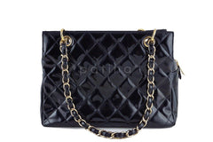 Chanel Black Patent Quilted Timeless Shopper Tote Bag - Boutique Patina  - 4