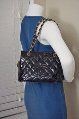 Chanel Black Patent Quilted Timeless Shopper Tote Bag - Boutique Patina  - 11
