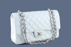 Chanel Caviar Classic 2.55 Flap Bag, White Medium-Large - Boutique Patina  - 2