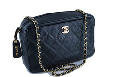 Chanel Caviar Camera Bag, Black Quilted Classic CC Clasp Pocket Case
