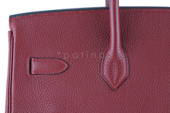 Hermes Red Rouge H 35cm Birkin Bag, Clemence PHW - Boutique Patina  - 5