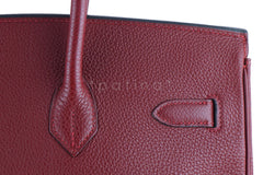 Hermes Red Rouge H 35cm Birkin Bag, Clemence PHW - Boutique Patina  - 6